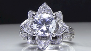 Large Blooming Beauty Flower Engagement Ring Laying Down Video