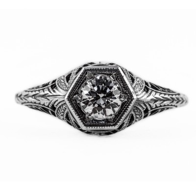 039bbr | Antique Filigree Ring | for a .42ct to .52ct round stone | Striped Swirl Design