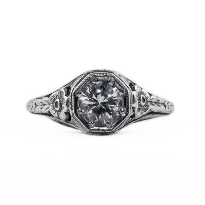 045bbr | Antique Filigree Ring | for a .75ct. to .85ct. round stone | Beautiful Flowers