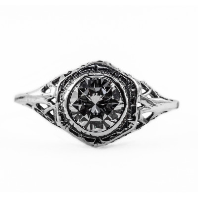 049bbr | Antique Filigree Ring | for a 1.20ct. to 1.30ct. round stone | Hexagonal