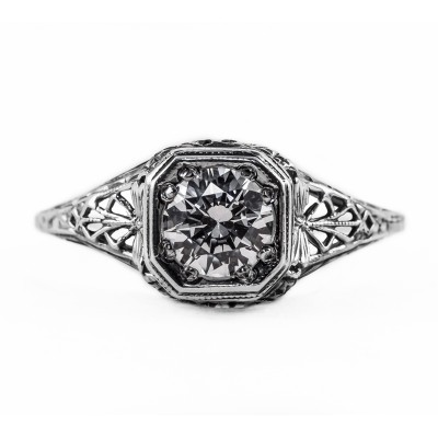 093bbr | Antique Filigree Ring | for a .75ct to .85ct round stone | Mantis