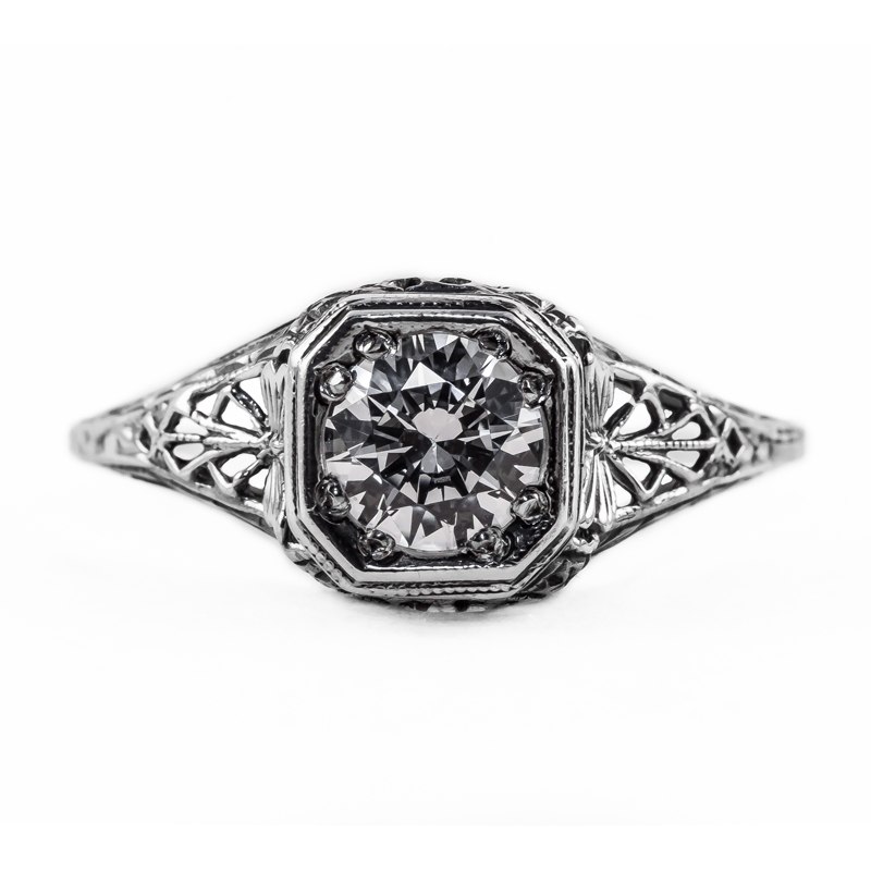 093bbr Antique Filigree Ring for a 75ct to 85ct round stone Mantis
