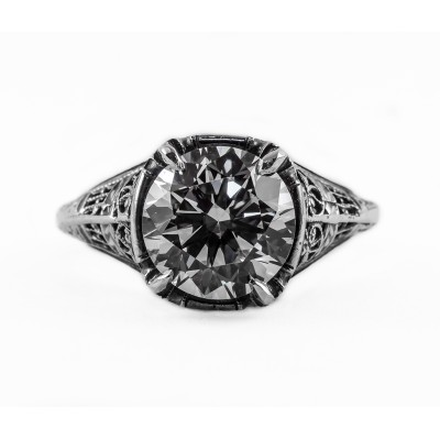 110bbr | Antique Filigree Ring | for a 3.45ct to 3.55ct round stone | Victorian Inspired