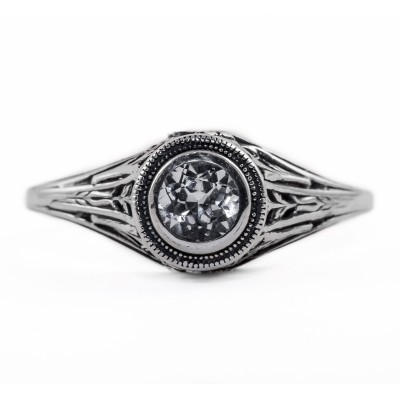 126bbr | Antique Filigree Ring | for a .30ct. to .40ct. round stone | Complex Cathedral