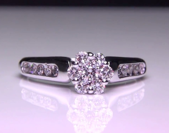 .50 ct. Invisibly Set Diamond Cluster Engagement Ring