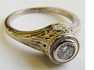 .30 ct. 14K Gold Vintage Filigree Engagement Ring Solitaire