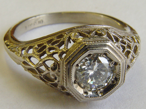 .49 ct. 14K Gold Vintage Filigree Engagement Ring Solitaire