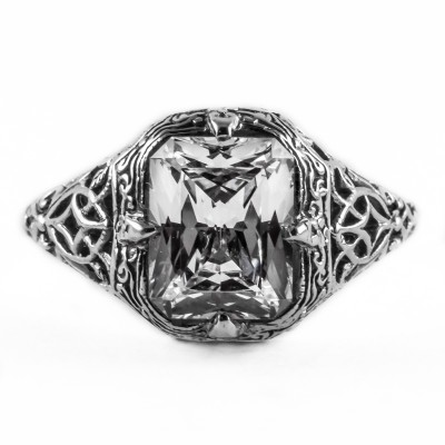 e002bbr | Antique Filigree Ring | for a 2.45ct. to 2.55ct. emerald stone | Grate Like Detailing