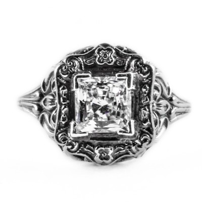 e021bbr | Antique Filigree Ring | for a 1.20ct. to 1.30ct. princess stone | Artistically Designed