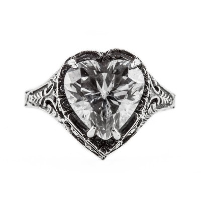 h001bbr | Antique Filigree Ring | for a 2.95ct to 3.03ct heart stone | Floral Band