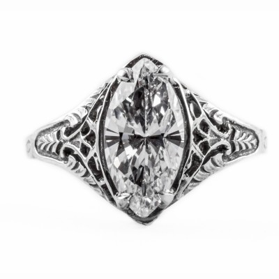 m002bbr | Antique Filigree Ring | for a 1.57ct to 1.67ct marquise stone | Fan Like
