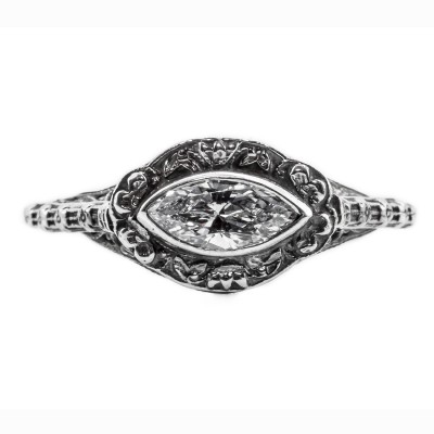 mq004bbr | Antique Filigree Ring | for a .45. to .55ct. marquise stone | Floral Swirls