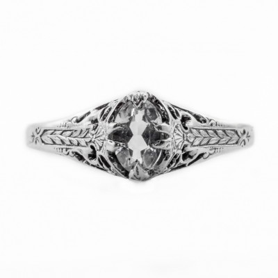 ov008bbr | Antique Filigree Ring | for a .38ct. to .48ct. oval stone | Hip Ring