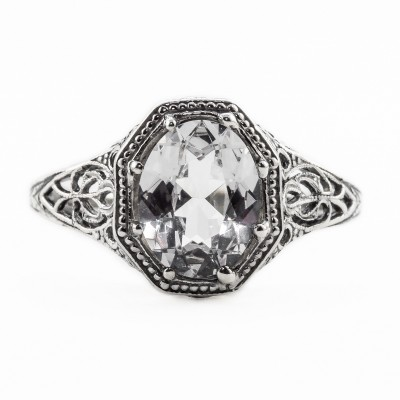 ov045bbr | Antique Filigree Ring | for a 2.45ct. to 2.55ct. oval stone | Enchanting