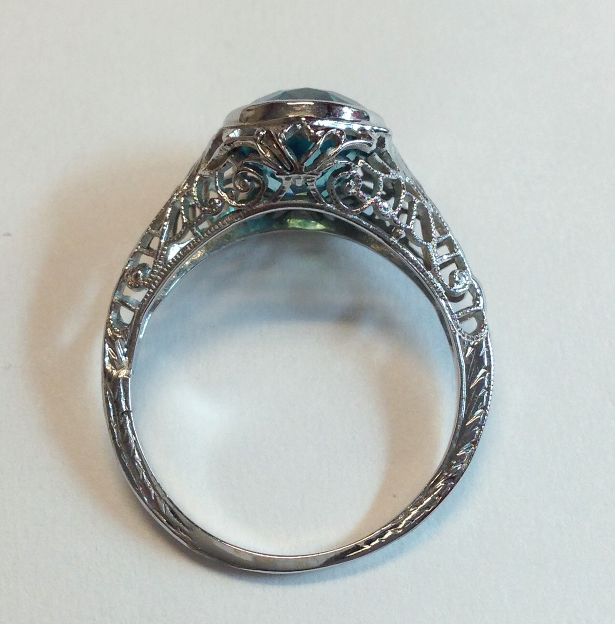 vintage platinum ring with blue blooming