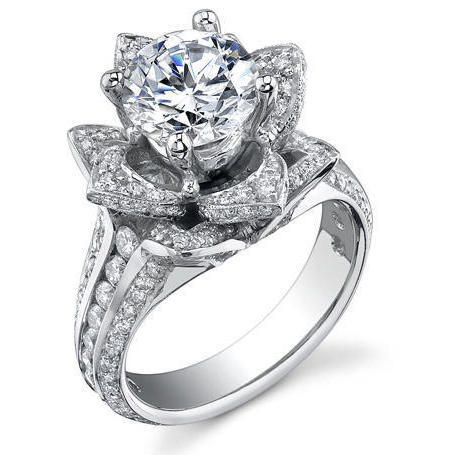 1.37 Ctw. Original Small Blooming Beauty Flower Ring U2013 Bbr434m | Unique Engagement Rings For ...