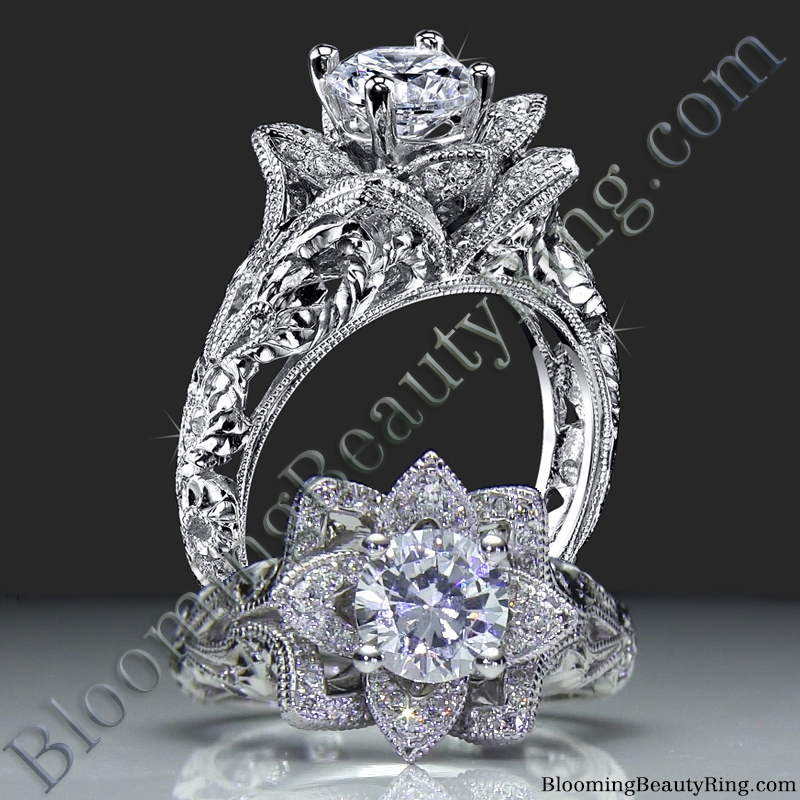 Diamond Embossed Blooming Rose Engagement Ring With Etched