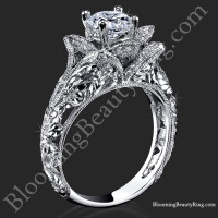 Diamond Embossed Blooming Rose Engagement Ring with Etched Carvings 1