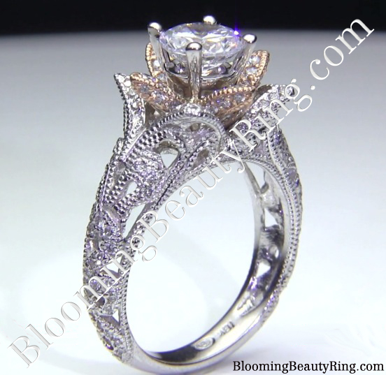 Two Toned Rose Gold and White Gold Art Carved Diamond Engagement Ring - Standing