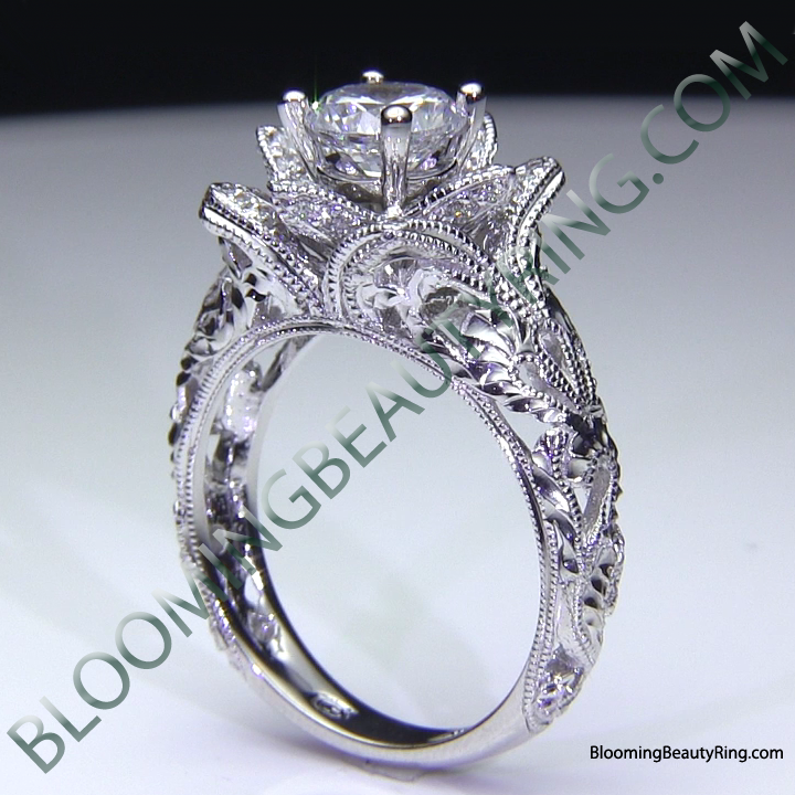 Diamond Embossed Blooming Rose Engagement Ring. Blooming Rose Flower Rings