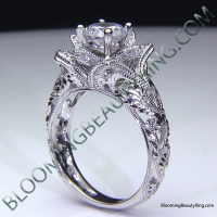 Diamond Embossed Blooming Rose Engagement Ring with Etched Carvings 3