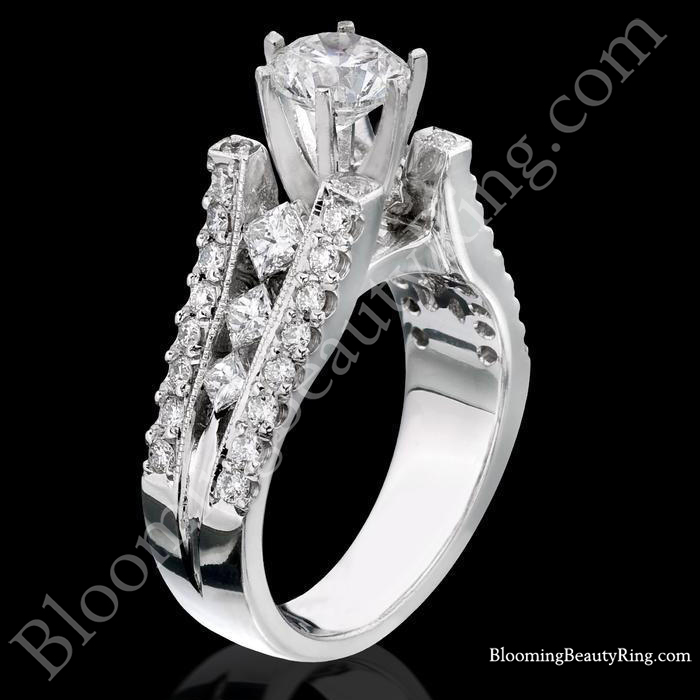Diamonds On The Tips Modified 6 Prong Cathedral Split Band Princess Cut Ring  in White Gold Standing