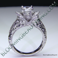Diamond Embossed Blooming Rose Engagement Ring with Etched Carvings 4