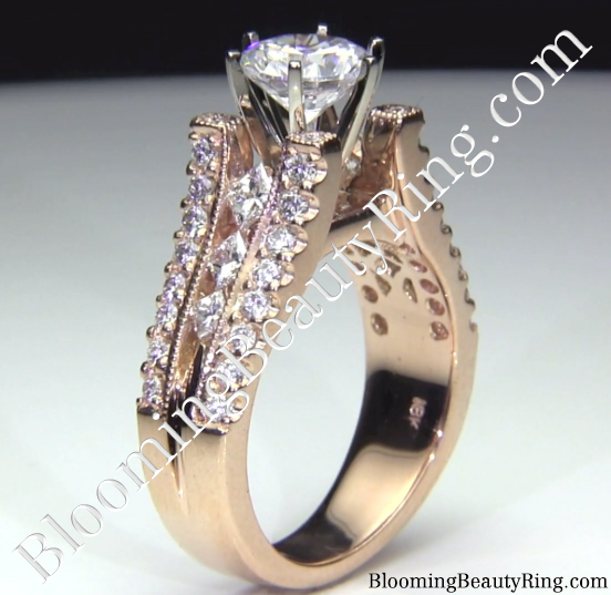 Pink Gold Split Shank Diamond Engagement Ring