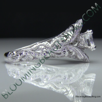 Diamond Embossed Blooming Rose Engagement Ring with Etched Carvings 9