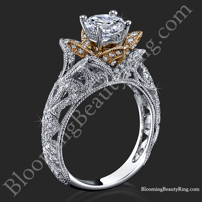Art carved blooming rose flower engagement ring with rose gold petals