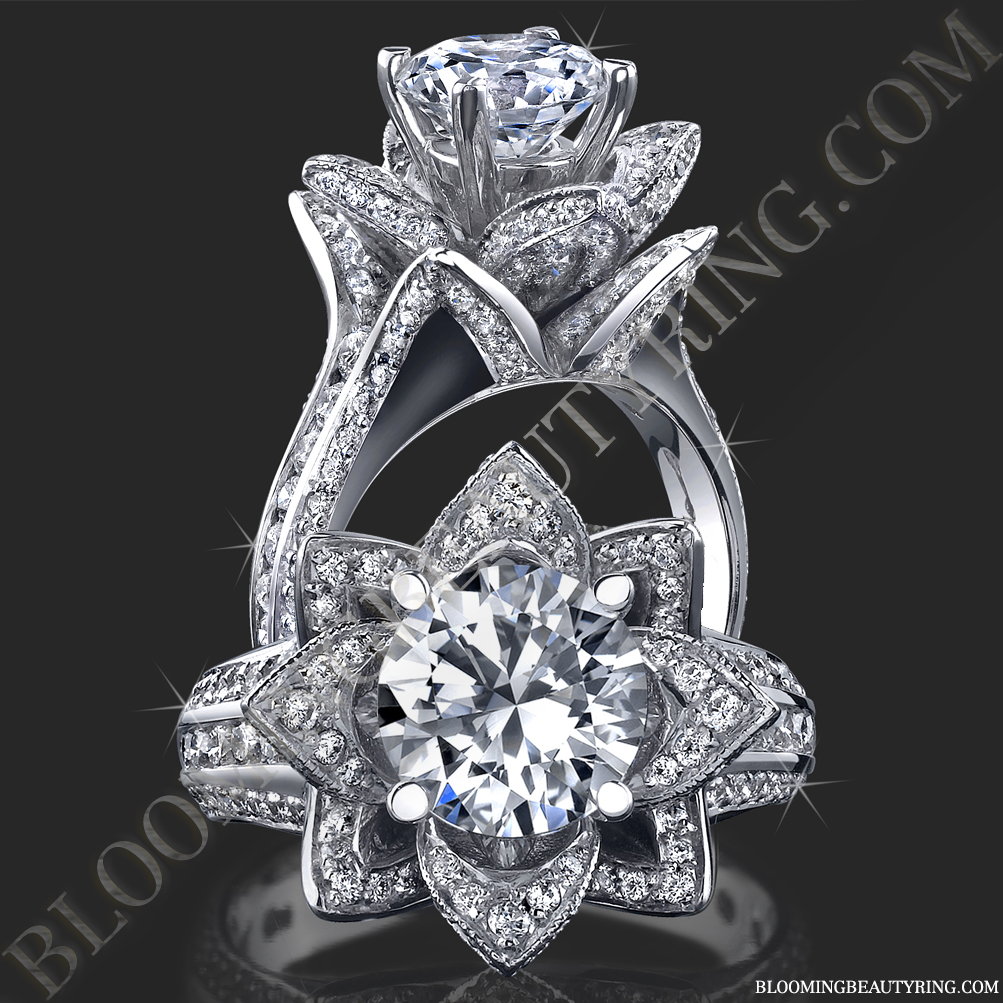 Gallery Images And Information Lotus Flower Halo Engagement Ring
