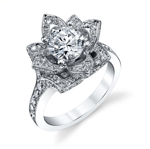 Rose Cut Flower Diamond Engagement Ring Top View ...
