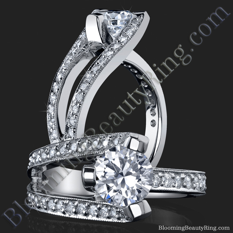 3 Sided Tension Set Split Shank Pave Diamond Engagement Ring - bbr274