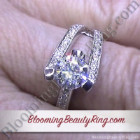 3 Sided Tension Set Split Shank Pave Diamond Engagement Ring On the Finger 2