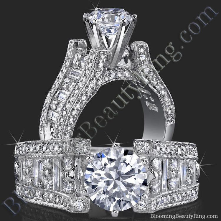 6 Prong Tiffany Style Engagement Ring with Alternating Round and Baguette Diamonds - bbr304
