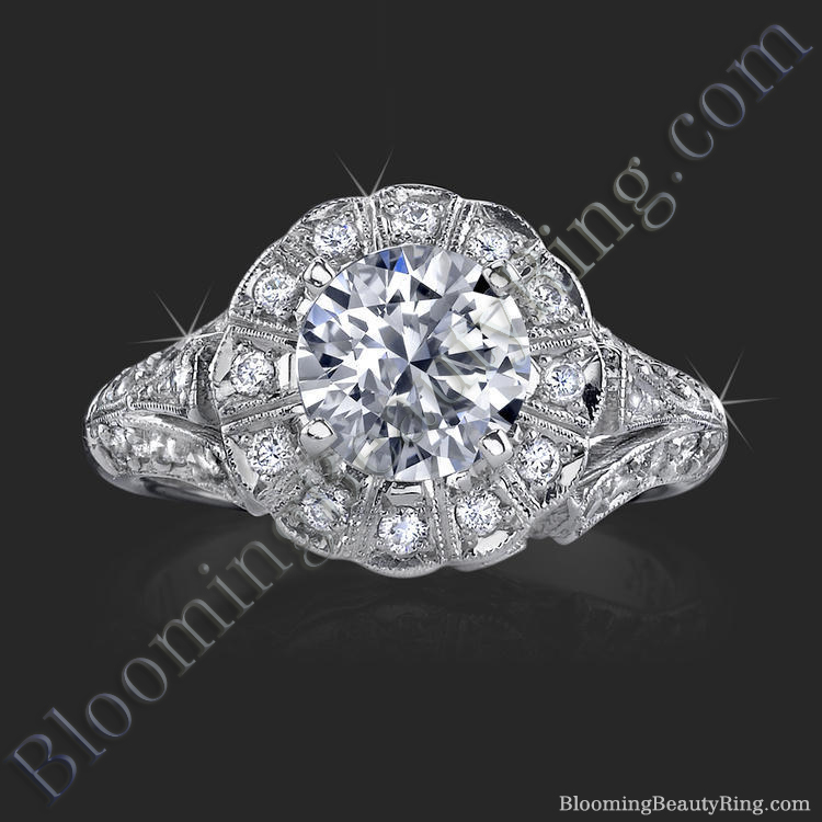 Antique Bezel Engagement Ring With Vintage Art Deco Styling Bbr6709