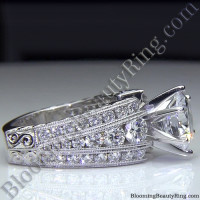 Artisan Etched Trinity Diamond Shank Engagement Ring 2