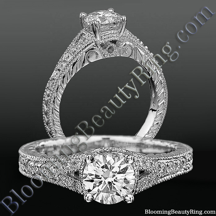 Artistic Hand Carved Design Split Shank Diamond Engagement Ring - bbrnw3533