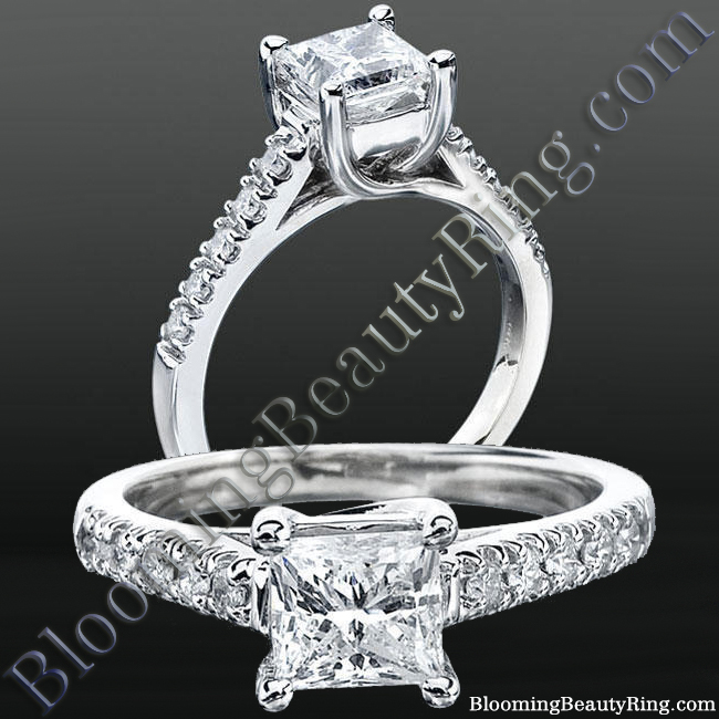 Bridge and Crossover U Prong Diamond Engagement Ring - nw8099