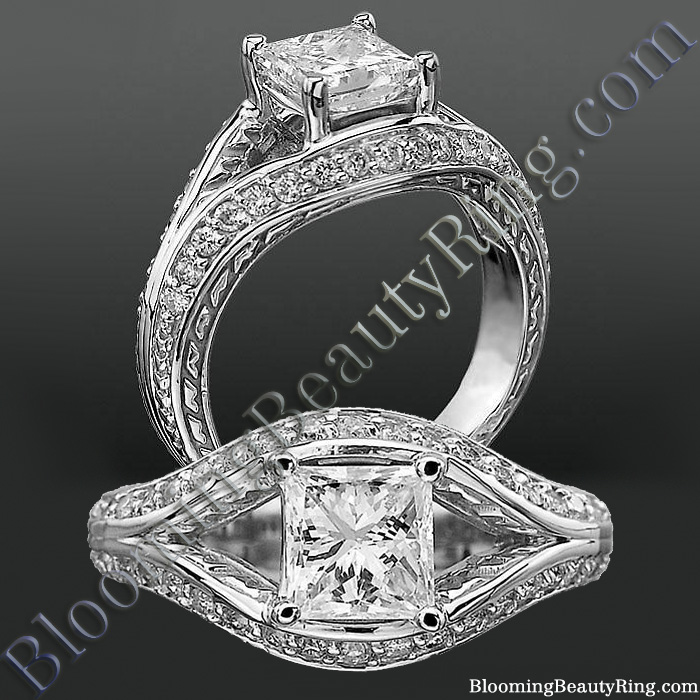 Diamond Paved Artistically Designed Split Shank Engagement Ring - bbrnw44012