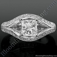 Diamond Paved Artistically Designed Split Shank Engagement Ring Laying Down