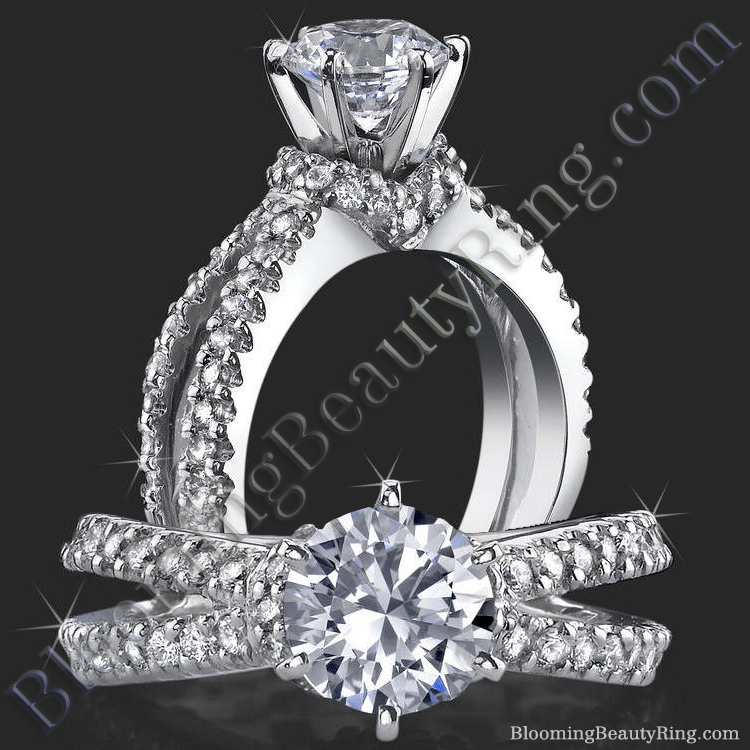 Embracing V Scarf  Split Shank Diamond Engagement Ring- bbr438