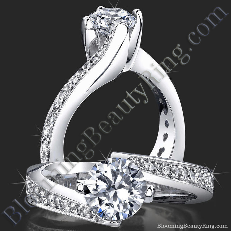 European Round Spiral Style Band With a Curved Twist Engagement Ring - bbr447