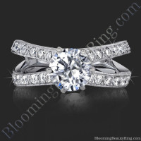 French Cut Designer Engagement Ring with Six Prongs Fluted Basket