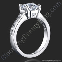 Invisible Channel Set Princess Diamond Ring Wide Band with Hidden Square Diamonds - bbr422