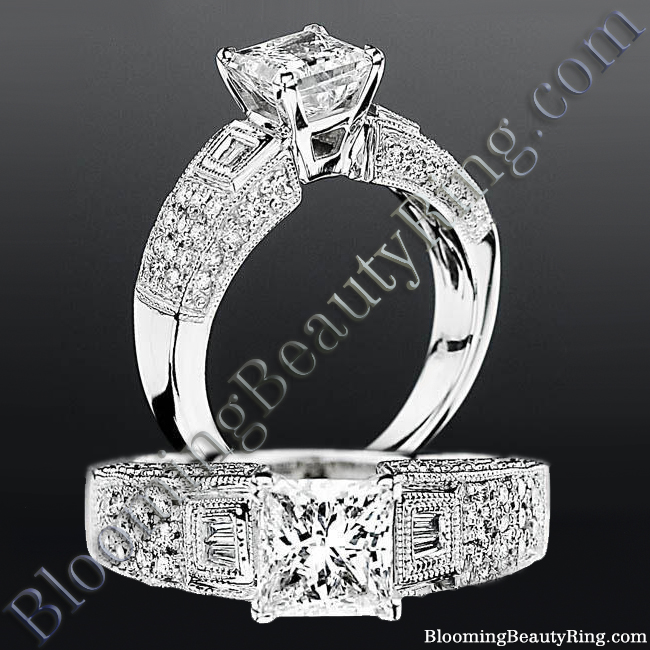 Pave Wide Diamond Band with Intricate Milgrain Edging and Design - bbrnw6003