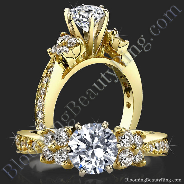 Petite Graduated 4 Diamond Cluster Tapered 6 Prong Engagement Ring Setting - bbr410