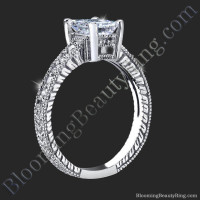 Radiant Diamond Ring with Low Mounting and Custom Engraving