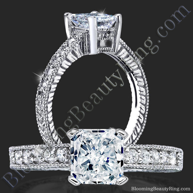 Radiant Diamond Ring with Low Mounting and Custom Engraving - bbr4311