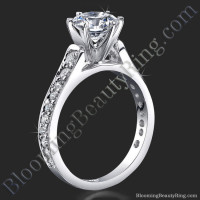 Reverse Tapered Gold Engagement Ring with Pave Set Diamonds and Medium Profile
